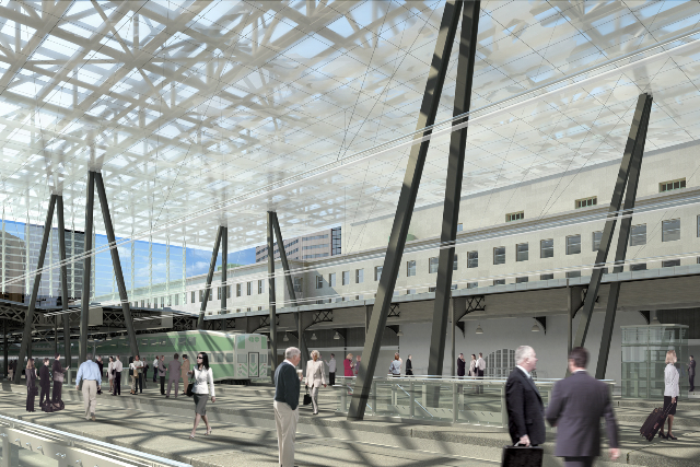 Interior view of planned Union Station glass box roof, looking north
