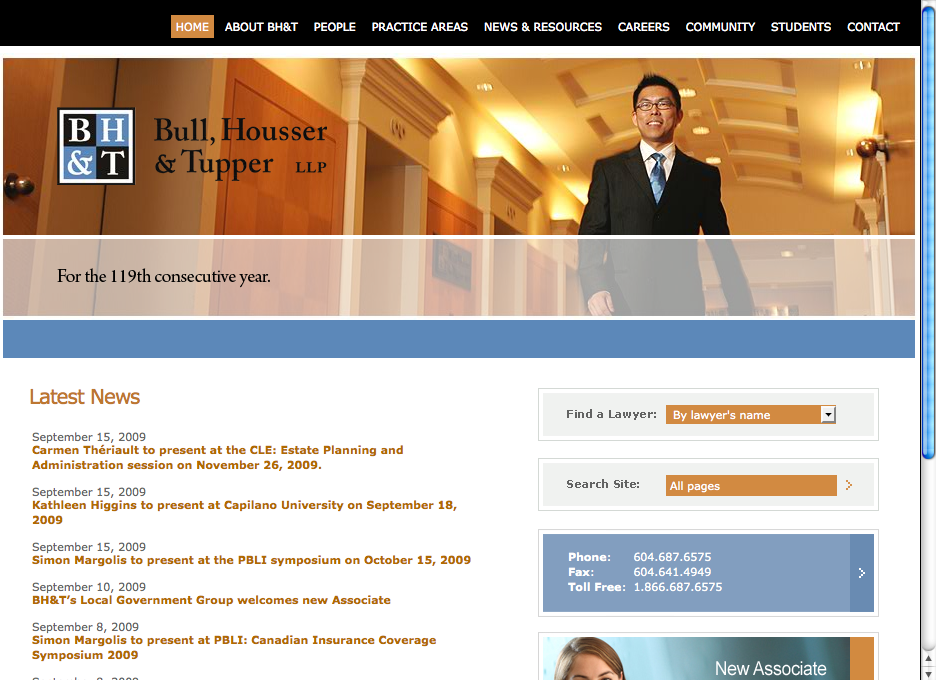 Bull, Housser & Tupper LLP web site