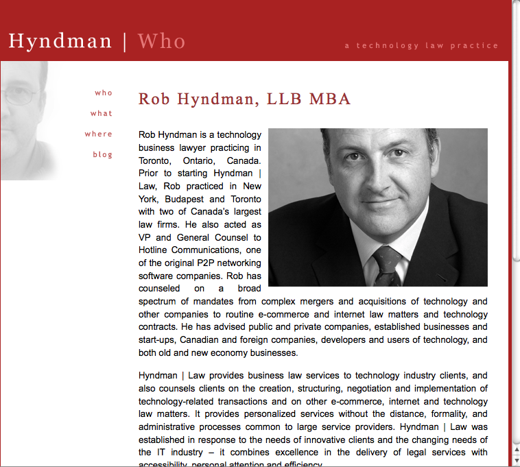 Rob Hyndman law firm website