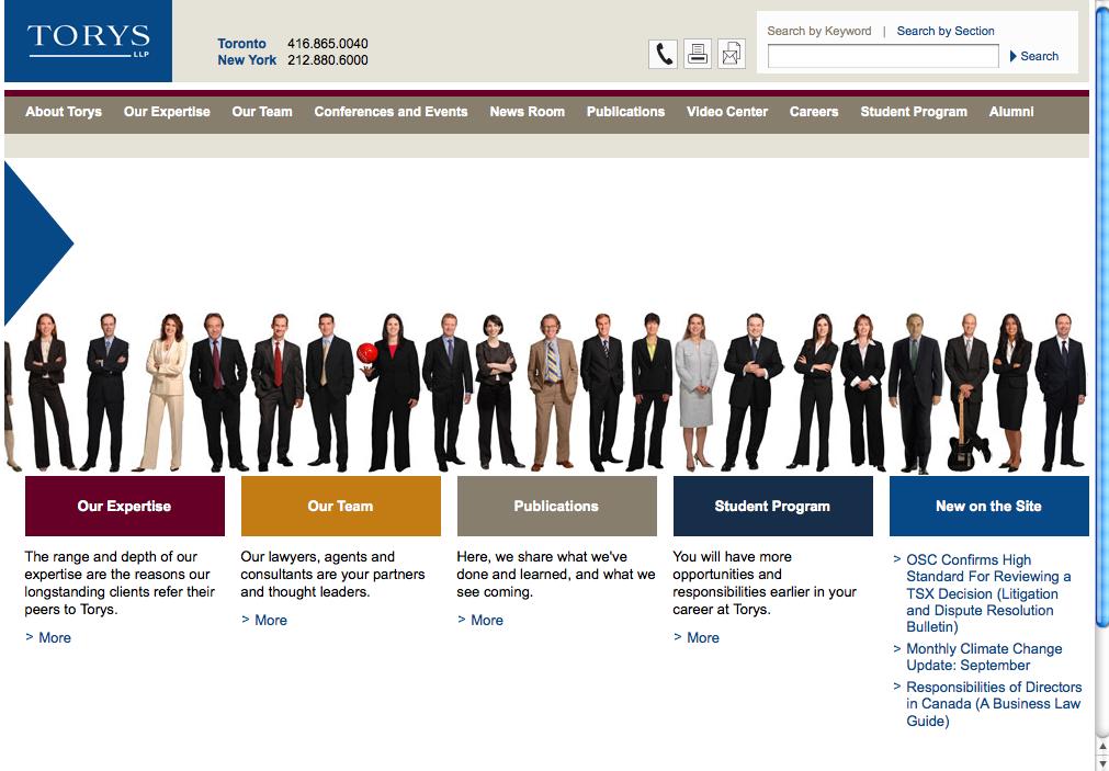 Torys LLP web site