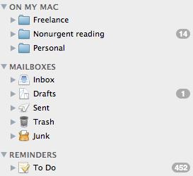 Folder list in a mail program