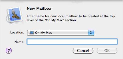 New folder (or mailbox) dialog