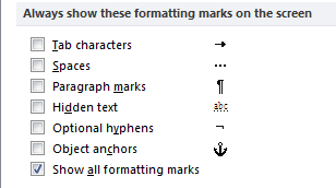 Nonprinting characters in Microsoft Word
