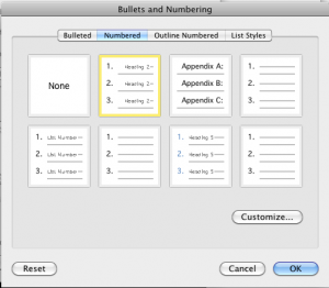 Bullets and numbering dialog in Microsoft Word