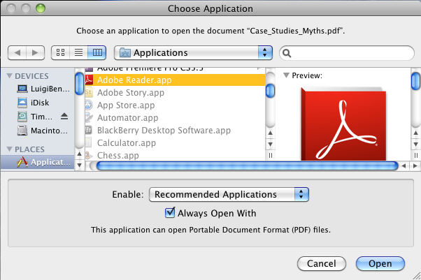 Choose Application dialog box