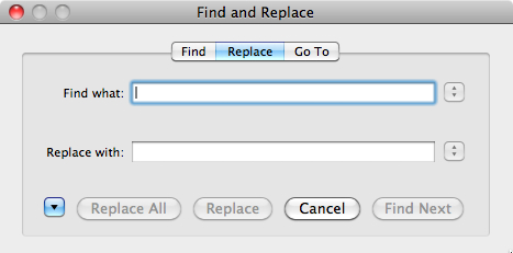 Find and Replace dialog - basic