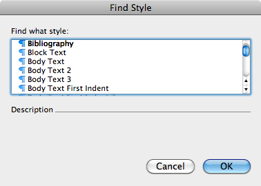 Find Style dialog