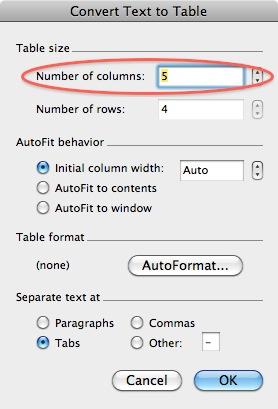 too many columns
