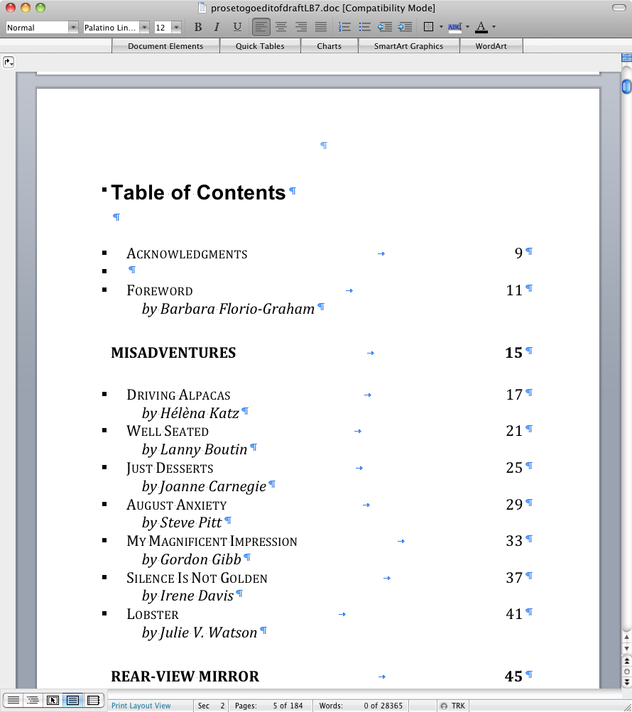 Prose To Go - final table of contents