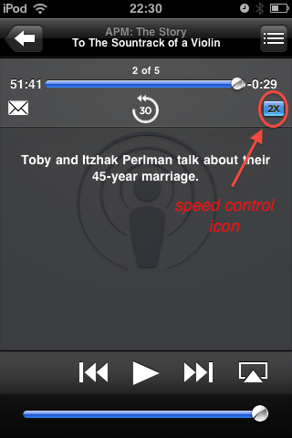 podcast playback at twice the speed