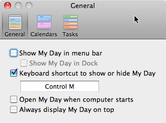 Microsoft Outlook 2011 Mac My Day settings