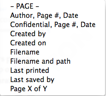 Microsoft Word Header/Footer submenu, showing standard options