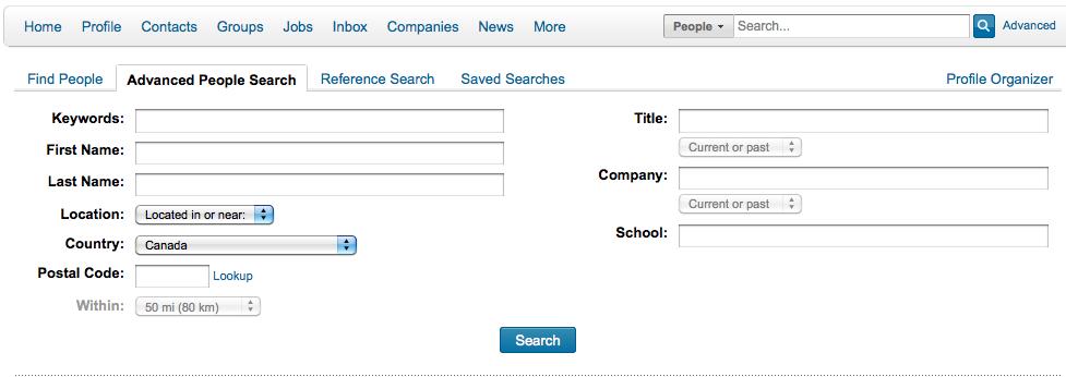LinkedIn Advanced Search options