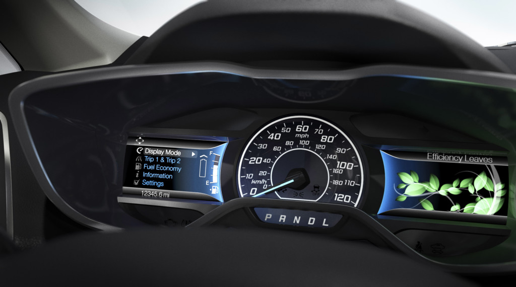 Video screens flanking the speedmeter of the Ford C-MAX dashboard (original image: Ford)