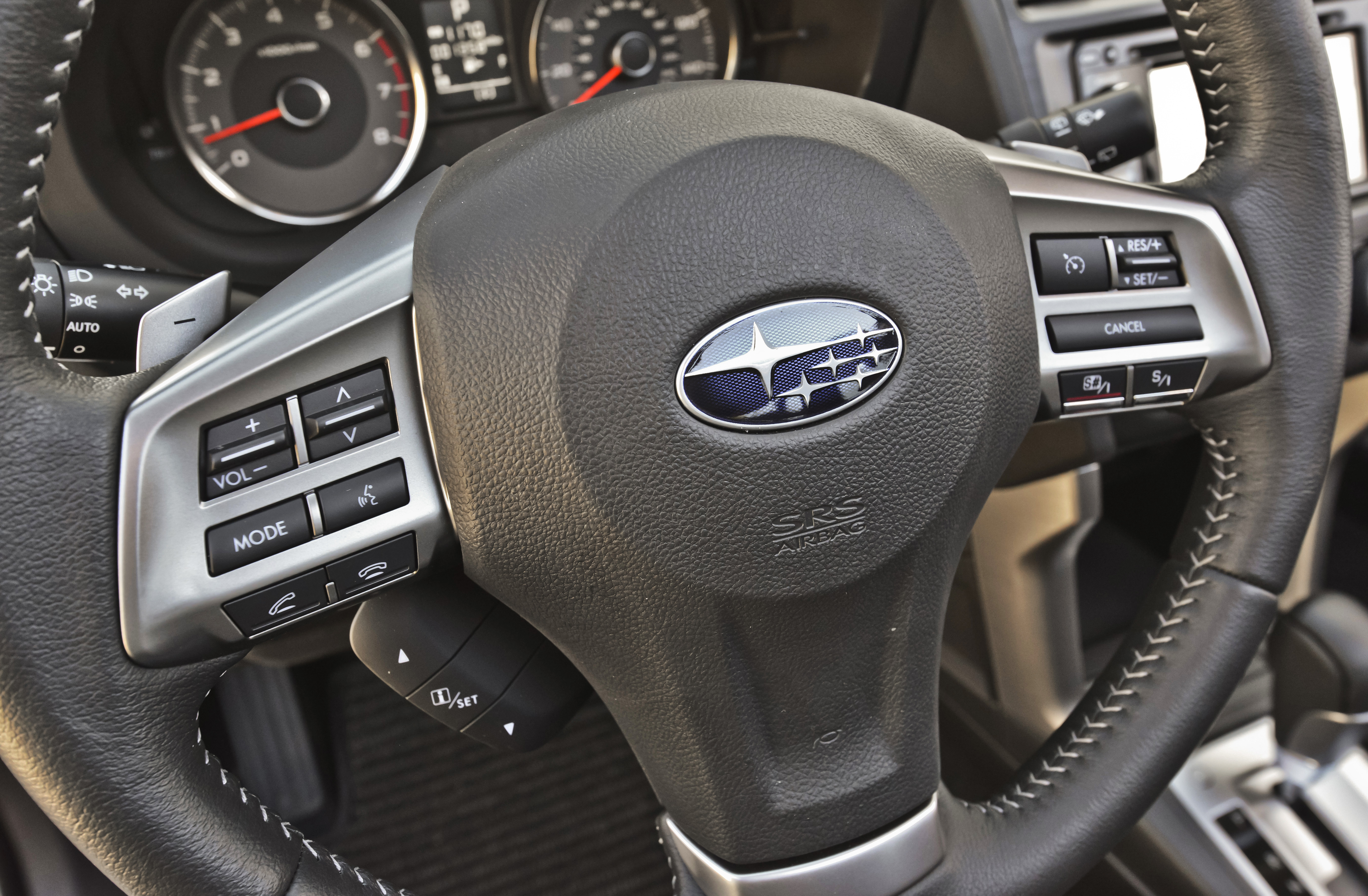 """You can just see the """"-"""" poking up above the left side of the steering wheel, which features enough controls that you rarely need to move your hands from it. Photo: Subaru Canada"""