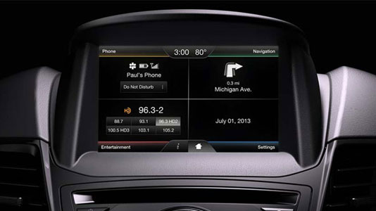 "The ""four-quadrant"" Ford C-MAX touchscreen"