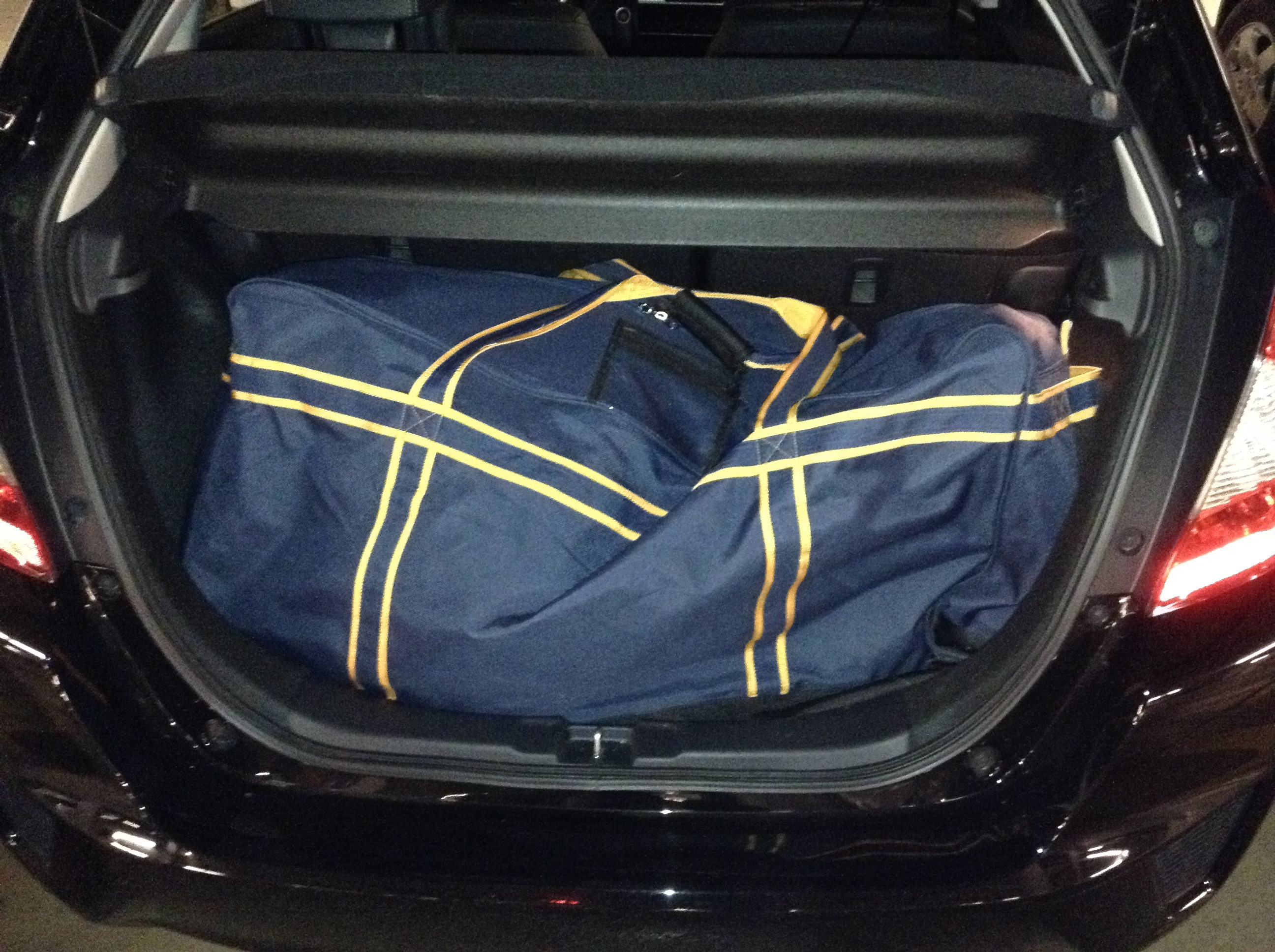 The requisite hockey bag test... rear seats stayed up.