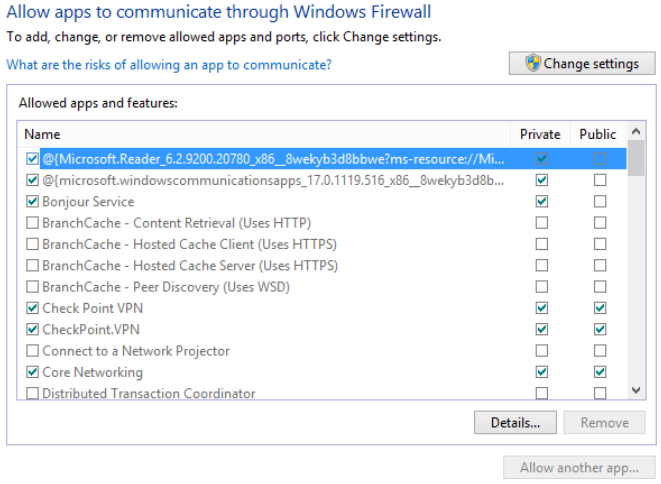 In Windows 8, you'll find these settings in Control Panel - System and Security - Windows Firewall - Allowed apps