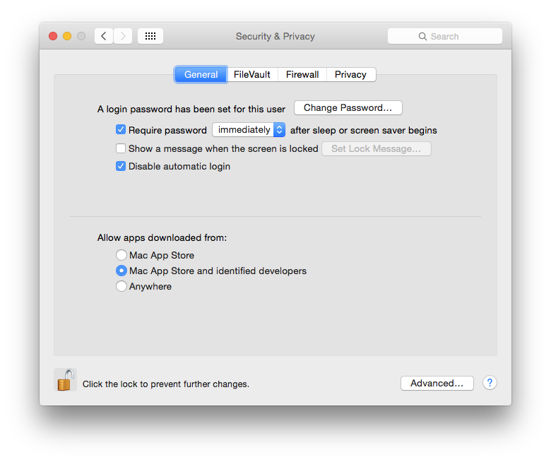 "Use the ""Mac App Store"" or ""Mac App Store and identified developers"" settings in this dialog to protect your Mac. You'll find these settings in System Preferences - Security & Privacy - General."