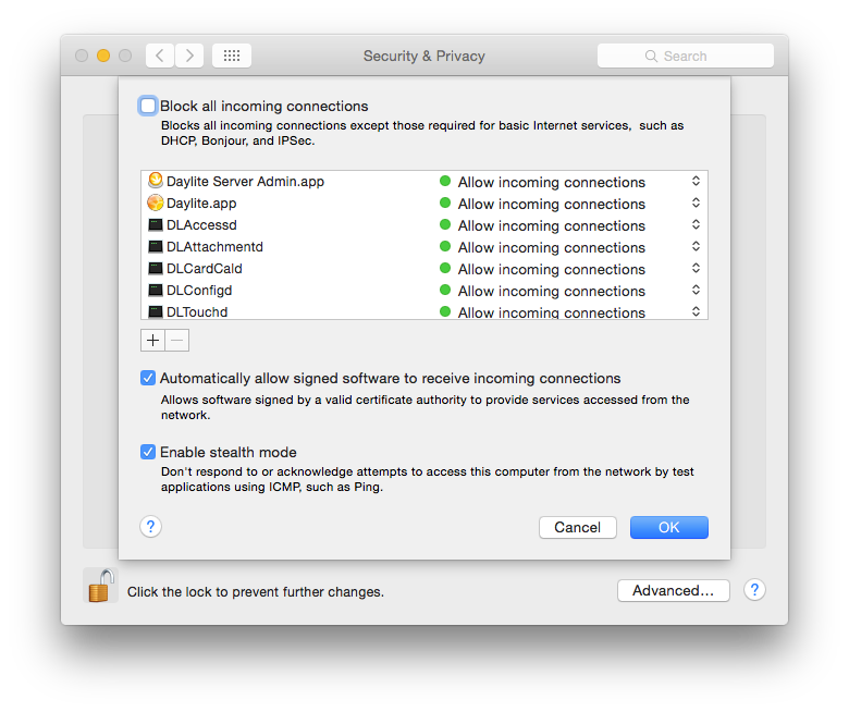 In Mac OSX, you'll find these settings in System Preferences - Security & Privacy - Firewall - Settings (button).