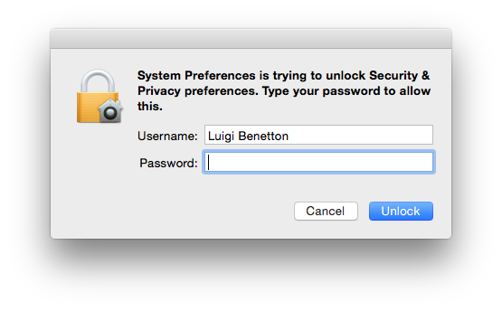 Does a dialog ask you to make changes and request your password? Are you doing anything that would require your password?