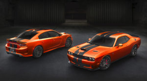 Go Mango with stripes on the Challenger and Charger. image courtesy Dodge